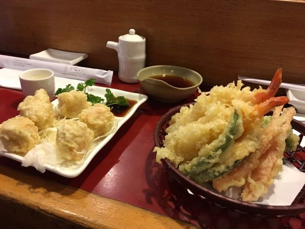 Crab shumai and shrimpveggie tempura Yelp