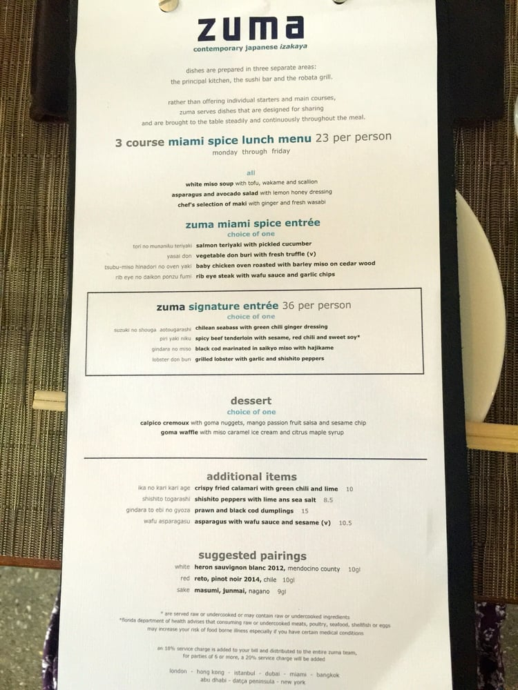 Zuma menu  Actual Store Deals