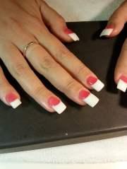 dark pink & white powder acrylic