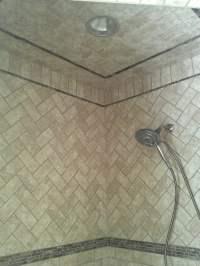 3x6 Travertine subway tiles done in a herringbone pattern ...