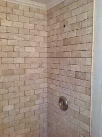 Travertine brick pattern shower enclosure - Yelp