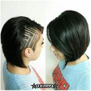 shaved side with geometric design