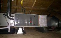 Horizontal furnace installed in an attic. We had to build