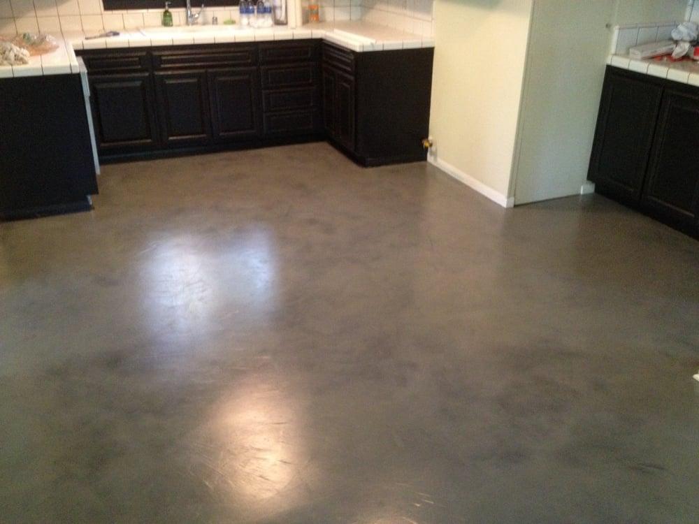 Interior Concrete Floor Overlay Black with Grey Stain  Yelp