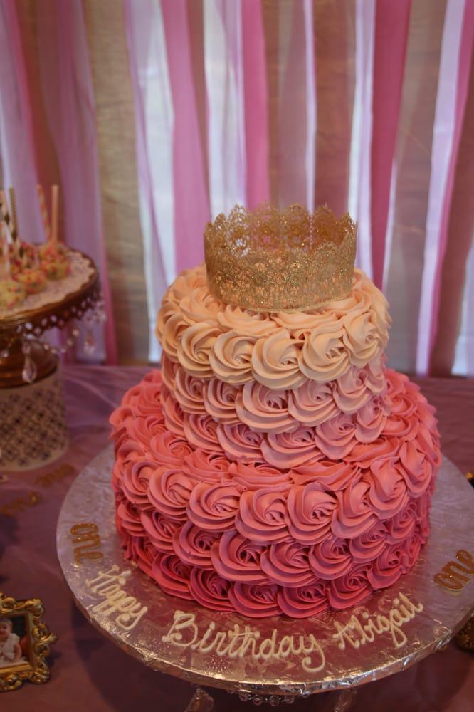 Baby Girls First Birthday Cake Beautiful Rosettes Yelp