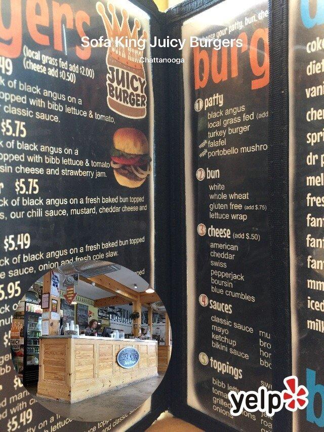 Sofa King Juicy Burger Chattanooga Menu Thecreativescientist Com