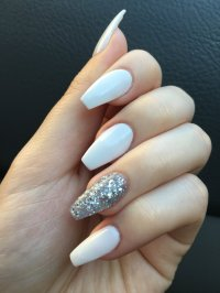 Awesome White And Silver Nails Coffin Festooning - Nail ...