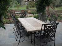 Stone top dining table with outdoor chairs from Bay Breeze ...