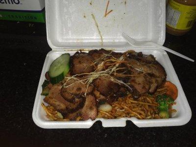 Jerk Pork over Chow Mein huge portion - Yelp