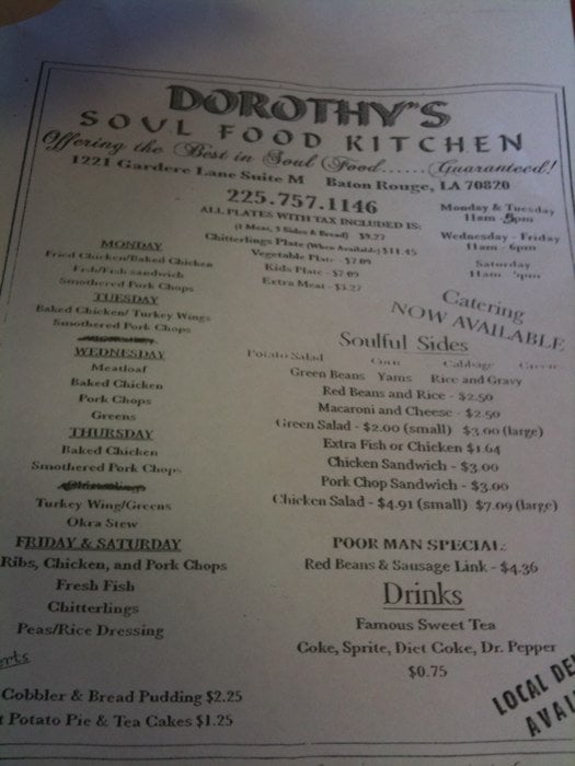 Soul Food Restaurants Baton Rouge