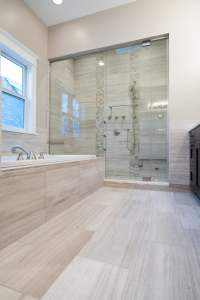Bathroom featuring in-stock White Oak Stone Tile - Yelp