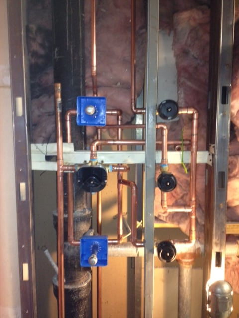 thermostatic valve 3 diverters and 2 rain tile body