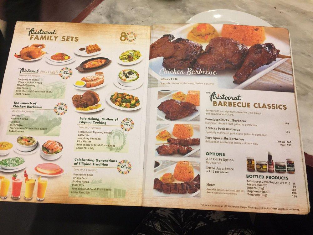 Aristocrat Price Menu And Restaurant