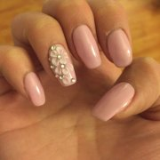 pink gels with white 3d nail art