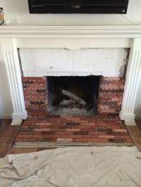 Brick veneer fireplace remodel | Yelp