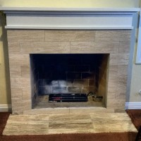 Custom Fireplace mantle and Travertine tile | Yelp