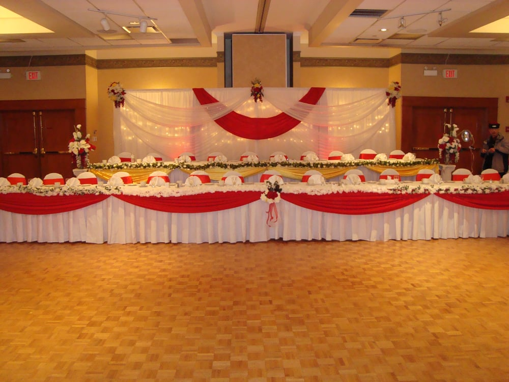 chair covers and sashes near me gaiam balance ball review wedding hall decoration, reception backdrop, head table decoration | yelp
