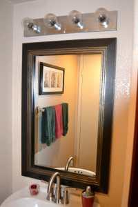 Bathroom mirror frame, mirror frame kit, modern black