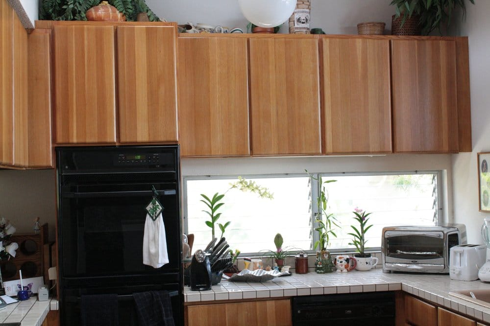 Photo 3b After Refinishing Solid Oak Kitchen Cabinet Yelp
