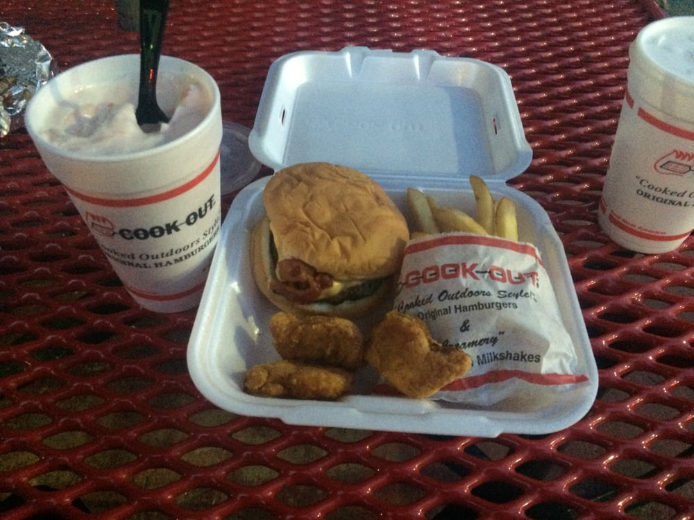 Burger Out West style with cheese. chicken nuggets and fries for sides with the limited time watermelon shake! - Yelp