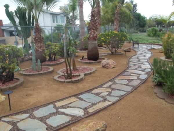 flagstone walkway backyard seating