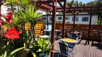 Nice patio area, colorful plants. ..the excitement mounted ...