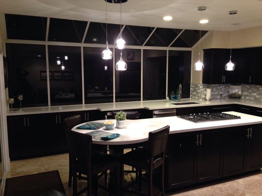 Espresso cabinets white quartz counter tops with