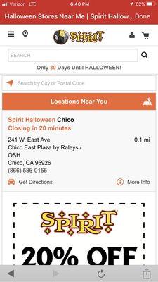 spirit halloween superstore 896 e ave chico ca costumes mapquest