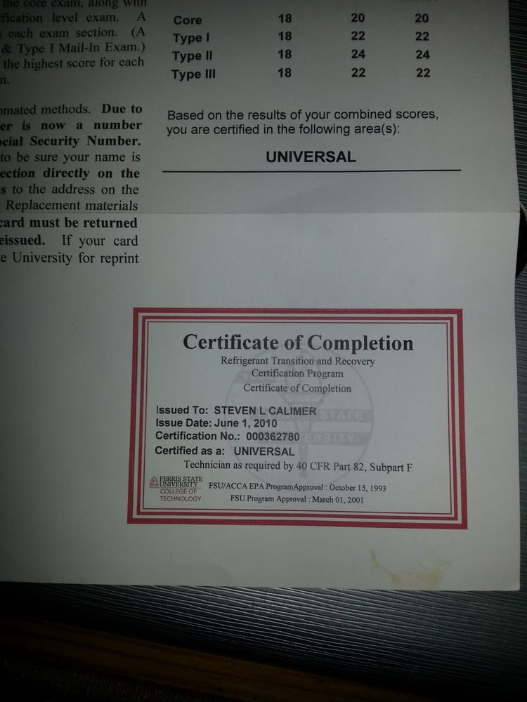 Epa Universal Certification Replacement Card Mamiihondenk