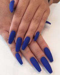 Coffin nails with matte blue el polish done by Kieu - Yelp