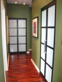 Swing Doors in Black frame with Milky glass. - Yelp