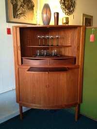 Mid-century Danish Corner Bar Cabinet with Tambour Doors ...