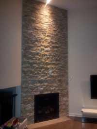 ledgestone around gas fireplace on 12ft wall - Yelp