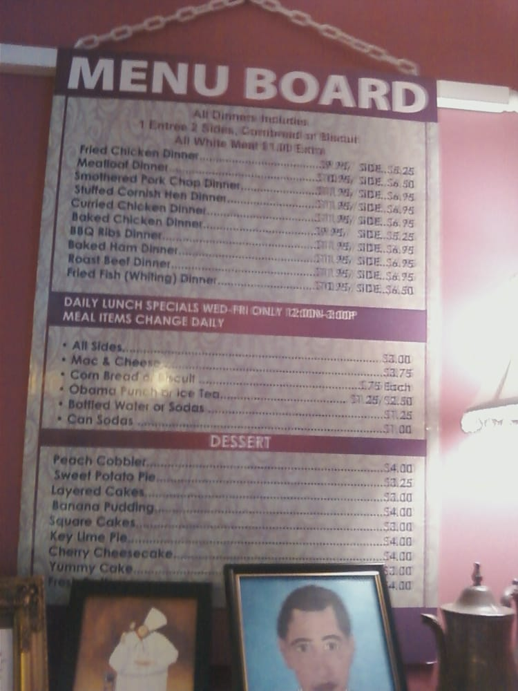 R R Soul Food Restaurant Menu