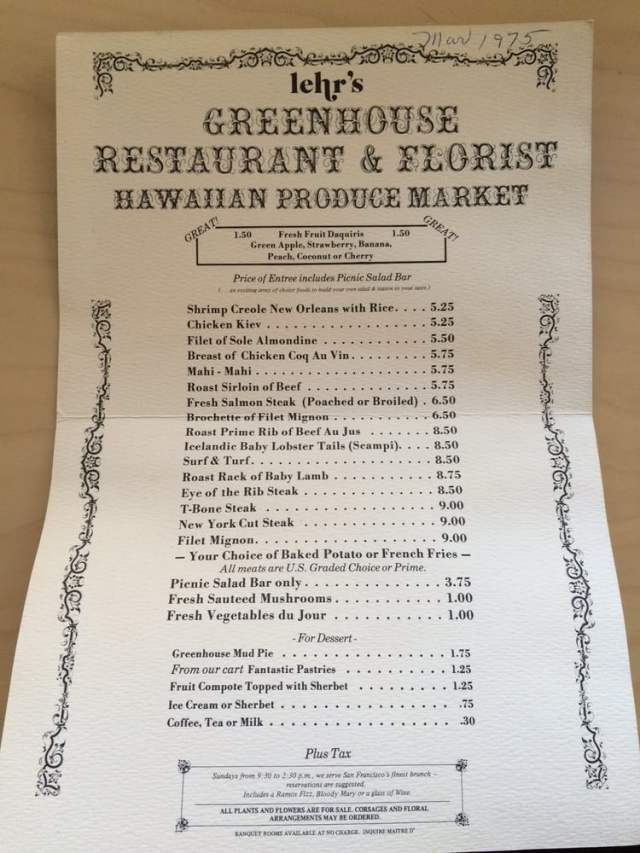 Photo of Lehr's Greenhouse Restaurant - San Francisco, CA, United States. Hoping someone who cares will see these. Love the prices and the artwork!