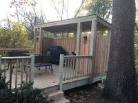 Wheaton treated deck with partial roof to shelter grill ...
