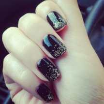 Black Gold Glitter Gel Nails