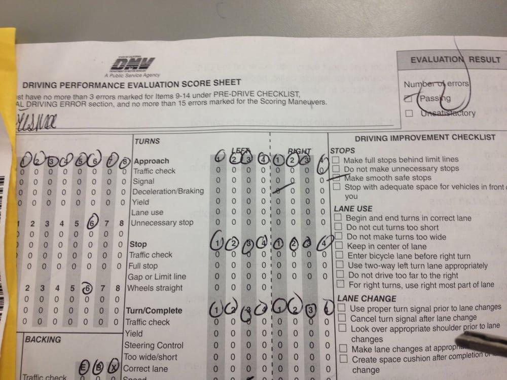 Dmv Driving Test Score Sheet