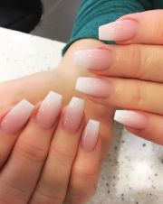 pink and white ombre gel nails