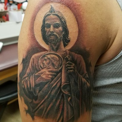 San Judas Tattoo On Back