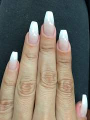 coffin shape french tip ombr