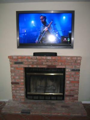 TV over Brick Fireplace  Yelp