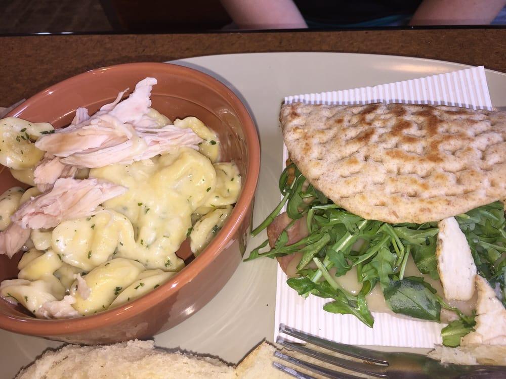 Chicken tortellini Alfredo with a flatbread with ham ...