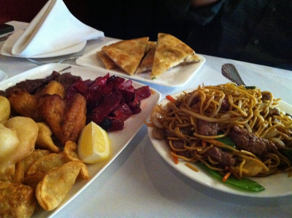 Sampler appetizer lo mein and scallion pancake  Yelp