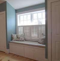 Built in window seat and bench between two master suite ...