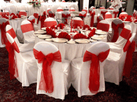 Satin Chair Covers with Red Bows - Yelp