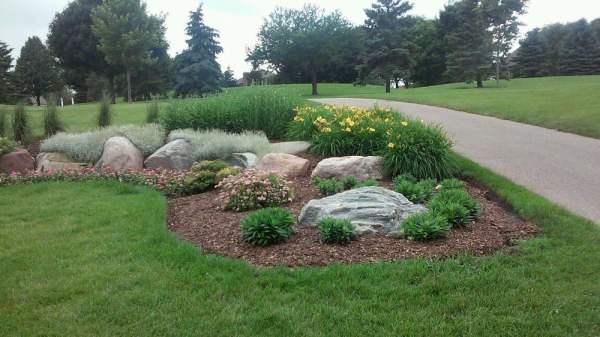 decorative of boulders in garden