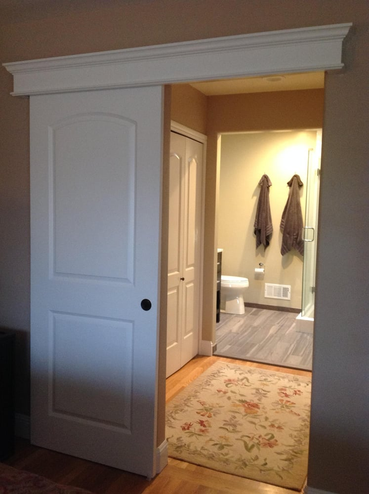 Sliding barn door offering privacy for pass