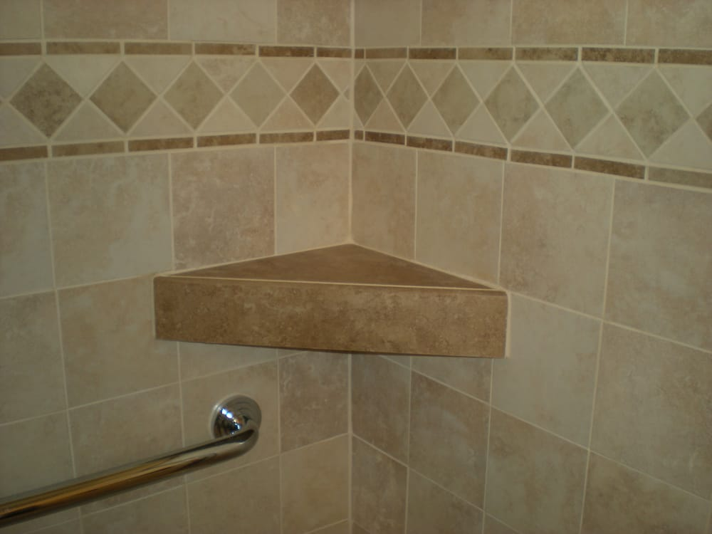 Custom shower tile shelf