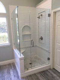 White subway tile shower, Carrara marble hexagon shower ...
